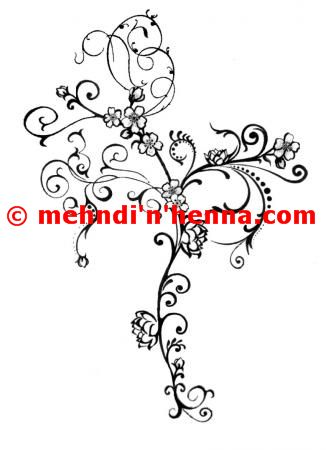 Floral Vine Henna Tattoo With Pug Tails
