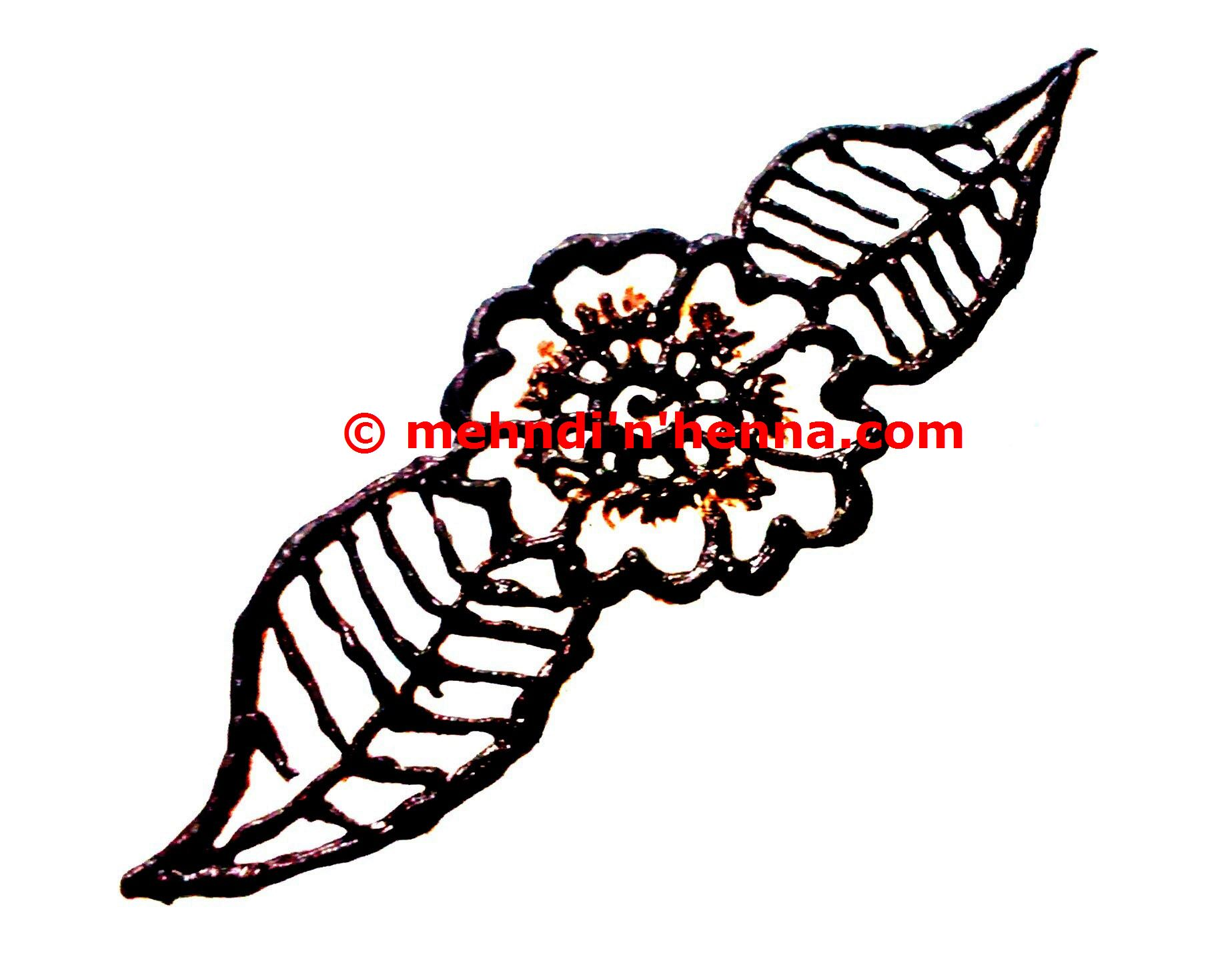 Floral Henna Tattoo With Leaves